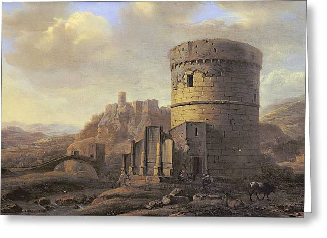 Ruin Photographs Greeting Cards - Roman Landscape The Tomb Of Cecilia Metella Oil On Panel Greeting Card by Jacob de Heusch