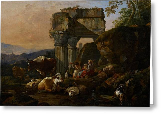 Roman Paintings Greeting Cards - Roman Landscape with Cattle and Shepherds Greeting Card by Johann Heinrich Roos