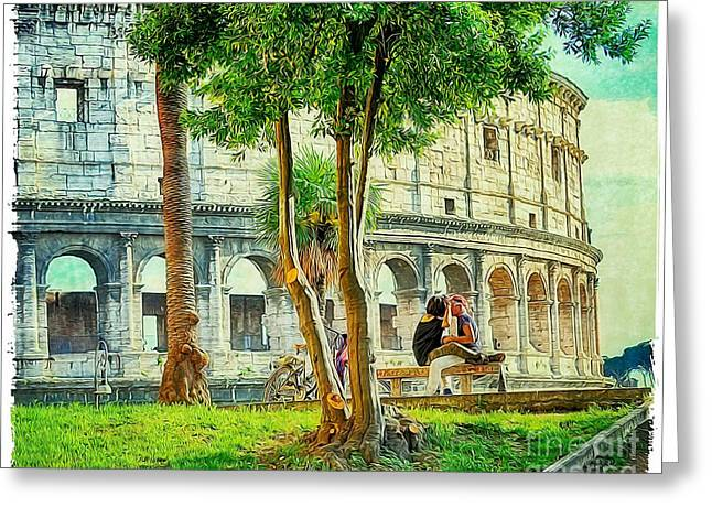 Heterosexual Couple Greeting Cards - Roman Lovers Greeting Card by Stefano Senise
