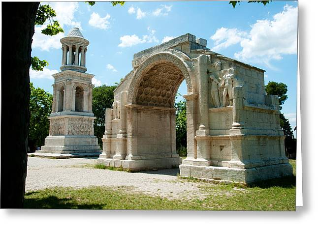 St Remy Greeting Cards - Roman Mausoleum And Triumphal Arch Greeting Card by Panoramic Images