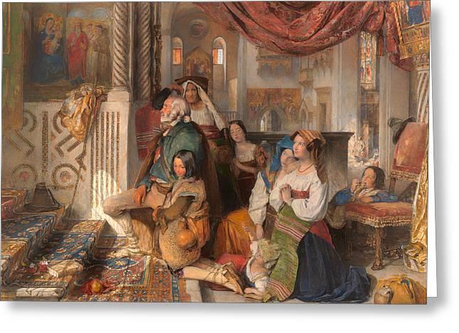 Religious Artwork Paintings Greeting Cards - Roman Pilgrims Greeting Card by John Lewis
