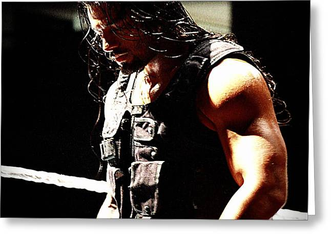 Punch Greeting Cards - Roman Reigns Greeting Card by Paul  Wilford