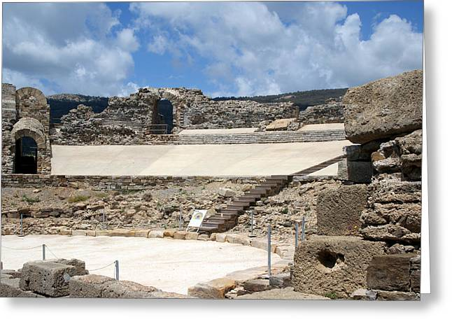 Theater Greeting Cards - Roman ruins in Baelo Claudia in Cadiz  Greeting Card by Blanchi Costela