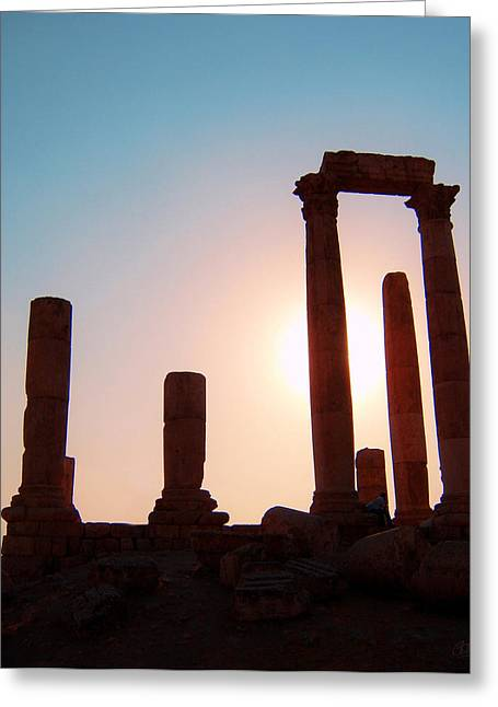 Jordan River Temple Greeting Cards - Roman Ruins of Jerash Greeting Card by Conor OBrien