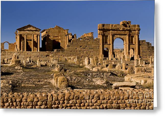 Northern Africa Photographs Greeting Cards - Roman Ruins Of Sufetula In Town Greeting Card by Bill Bachmann