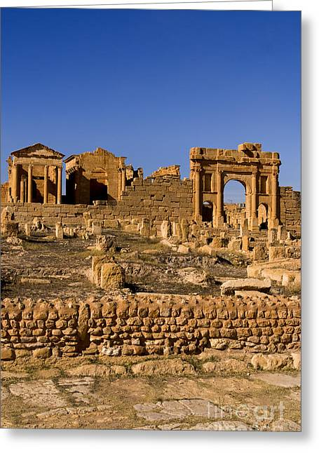 Northern Africa Photographs Greeting Cards - Roman Ruins Of Sufetula, Tunisia Greeting Card by Bill Bachmann