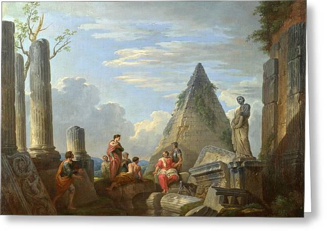 Giovanni Paolo Panini Greeting Cards - Roman Ruins with Figures Greeting Card by Giovanni Paolo Panini