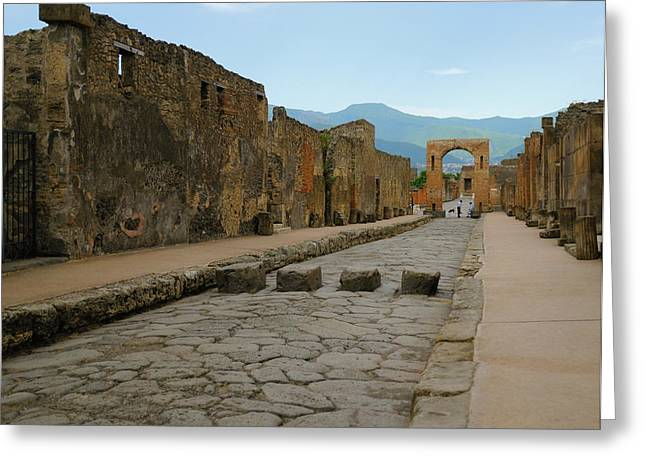 Roman Streets Greeting Cards - Roman Street in Pompeii Greeting Card by Alan Toepfer
