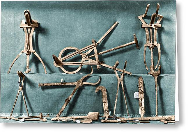 Greeting Card featuring the photograph Roman Surgical Instruments, 1st Century by Science Source