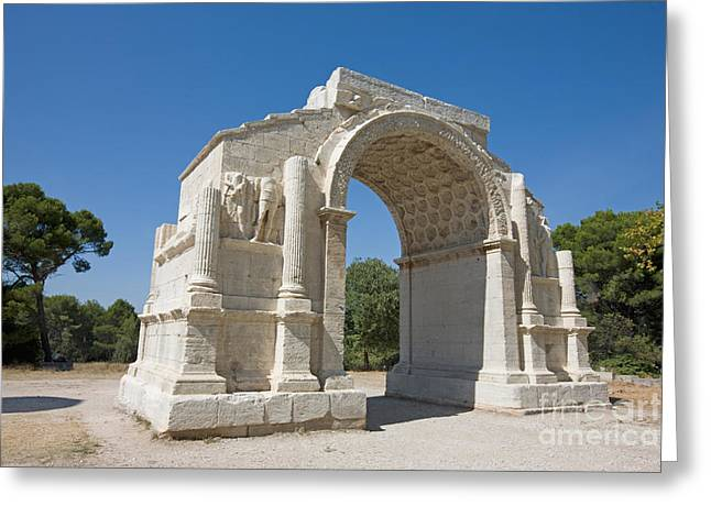 Saint-remy De Provence Greeting Cards - Roman Triumphal Arch, Glanum, France Greeting Card by Adam Sylvester