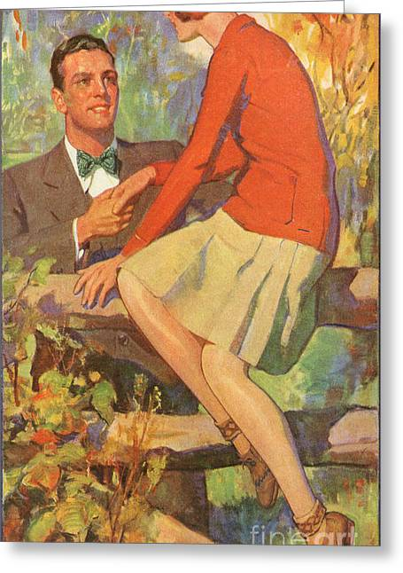 Romance 1920s Usa Manners Chivalry Greeting Card by The Advertising Archives