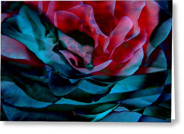 Print On Canvas Mixed Media Greeting Cards - Romance - Abstract Art Greeting Card by Jaison Cianelli