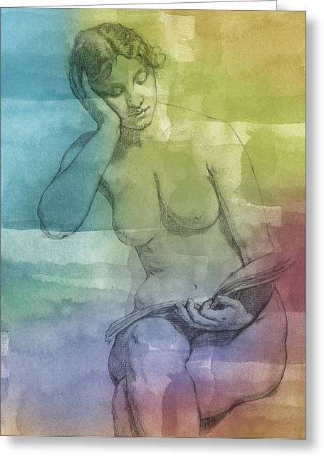 Nude Art Digital Art Greeting Cards - Romance Greeting Card by Aged Pixel
