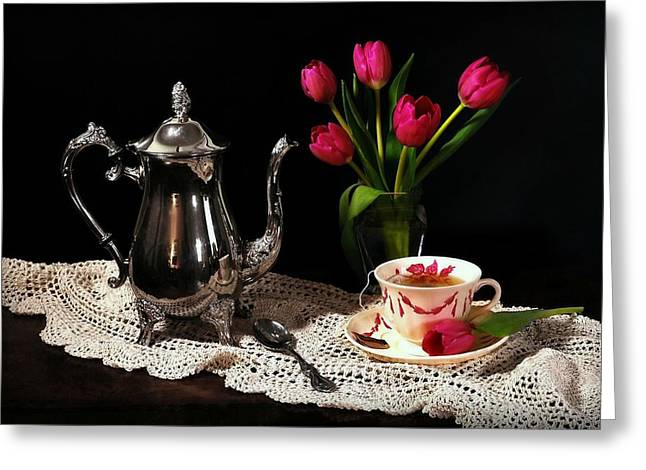 With Love Greeting Cards - Romance and Tea Greeting Card by Diana Angstadt