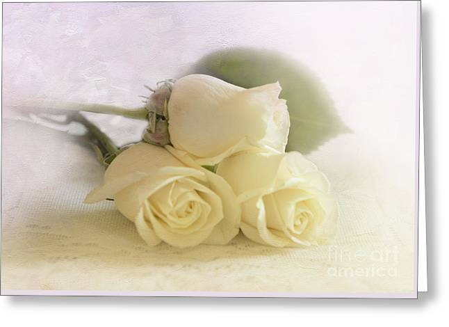 Three Roses Greeting Cards - Romance Greeting Card by Betty LaRue