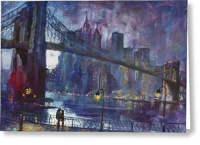 City Scenes Paintings Greeting Cards - Romance by East River NYC Greeting Card by Ylli Haruni