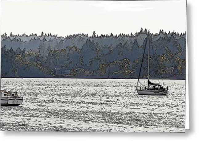 Sailboat Photos Greeting Cards - Romance II on Liberty Bay Greeting Card by Greg Reed