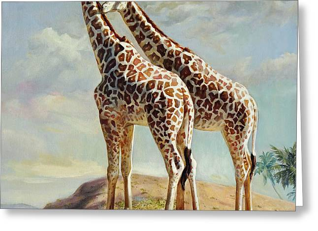 Romance In Africa - Love Among Giraffes Greeting Card by Svitozar Nenyuk
