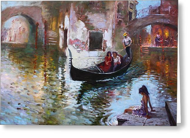 Romance In Venice 2013 Greeting Card by Ylli Haruni