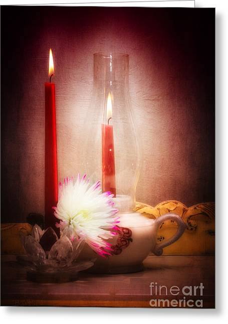 Hurricane Lamp Greeting Cards - Romance Is In The Air Greeting Card by Betty LaRue