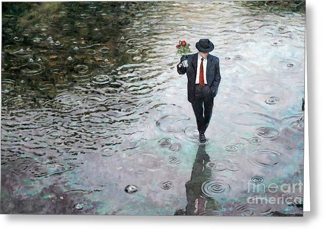 Forties Paintings Greeting Cards - Romance Isnt Dead Greeting Card by Theo Michael