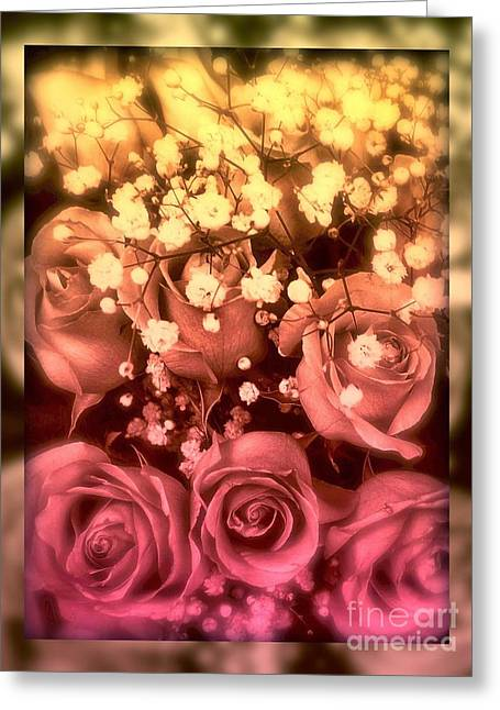 Babys Breaths Greeting Cards - Romance of the Rose Greeting Card by Miriam Danar