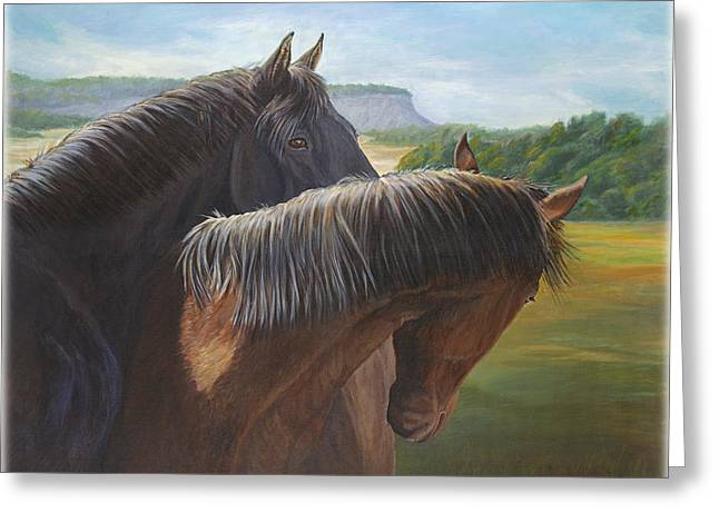 Horse In Field Greeting Cards - Romance Greeting Card by Renee Forth-Fukumoto