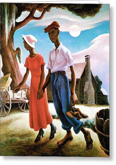 Sky Lovers Art Greeting Cards - Romance Greeting Card by Thomas Benton