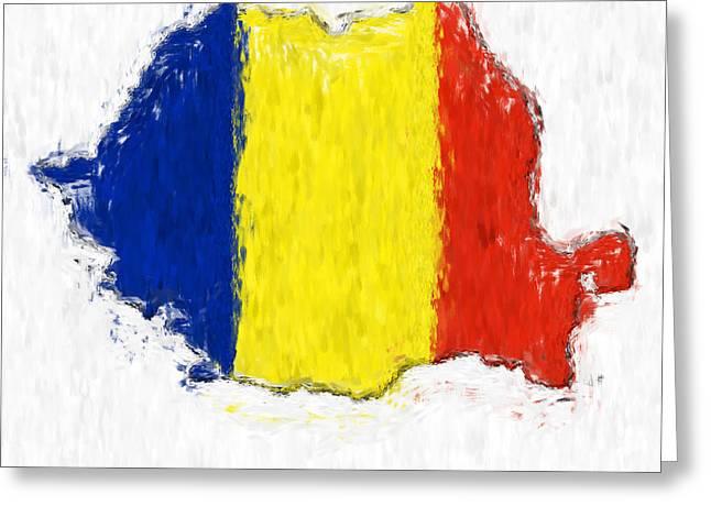 Romania Painted Flag Map Greeting Card by Antony McAulay