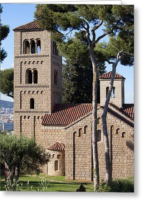 Poble Espanyol Greeting Cards - Romanic Monastery in Poble Espanyol in Barcelona Greeting Card by Artur Bogacki