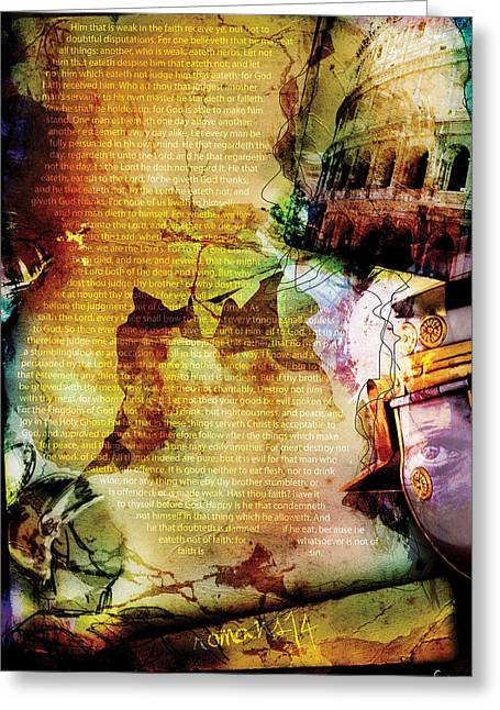 Pentecost Greeting Cards - Romans 14 Greeting Card by Switchvues Design