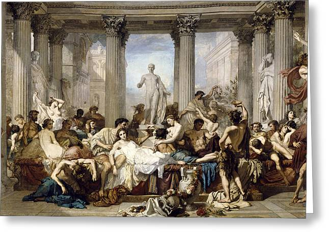 Decadence Greeting Cards - Romans during the Decadence Greeting Card by Thomas Couture