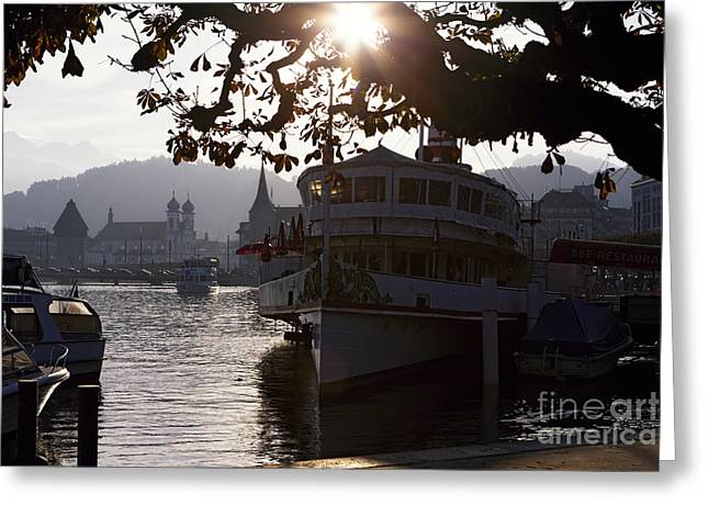Romantic Afternoon Scenic in Lucerne Greeting Card by George Oze