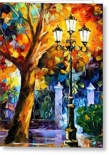 Sizes Greeting Cards - Romantic Aura - PALETTE KNIFE Oil Painting On Canvas By Leonid Afremov Greeting Card by Leonid Afremov