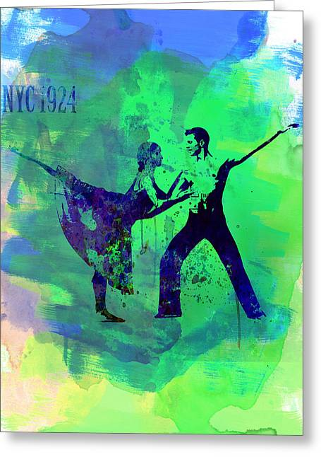 Romantic Ballet Watercolor 1 Greeting Card by Naxart Studio