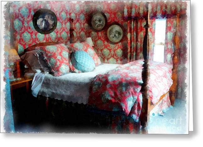 Weekend Photographs Greeting Cards - Romantic Bedroom Watercolor Greeting Card by Edward Fielding