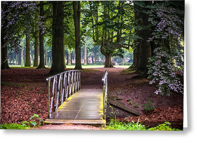 Peaceful Scene Greeting Cards - Romantic Bridge to Shadow Place. De Haar Castle Greeting Card by Jenny Rainbow
