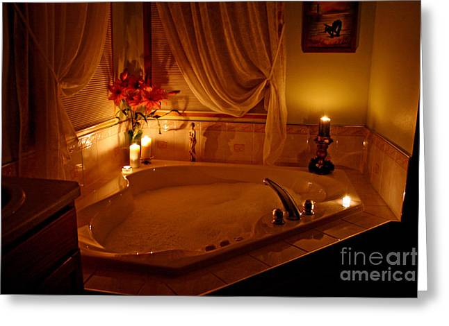 Romantic Bubble Bath Greeting Card by Kay Novy