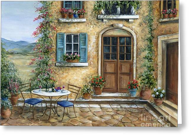 Flower Boxes Paintings Greeting Cards - Romantic Courtyard Greeting Card by Marilyn Dunlap