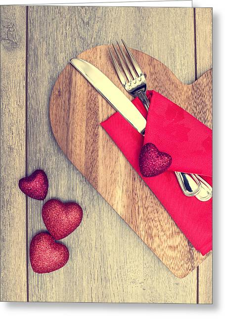 Valentine Greeting Cards - Romantic Dinner Setting Greeting Card by Amanda And Christopher Elwell