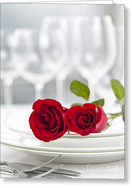 White Photographs Greeting Cards - Romantic dinner setting Greeting Card by Elena Elisseeva