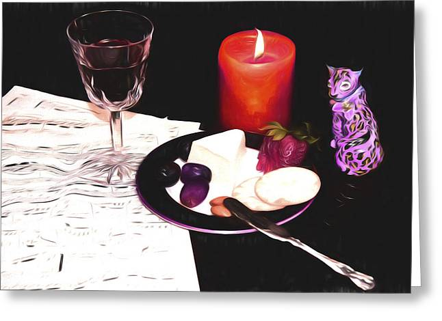 Recently Sold -  - Table Wine Greeting Cards - Romantic Evening With A Jaguar Greeting Card by Daphne Sampson