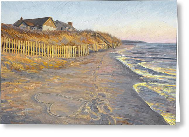 Beach House Paintings Greeting Cards - Romantic Getaway Greeting Card by Lucie Bilodeau