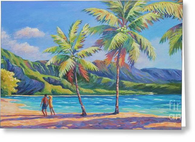 North Shore Paintings Greeting Cards - Romantic Hanalei Bay Greeting Card by John Clark