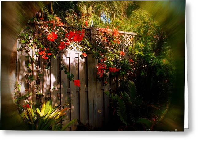 Secret Gardens Greeting Cards - Romantic Hideaway in Key West Greeting Card by Susanne Van Hulst