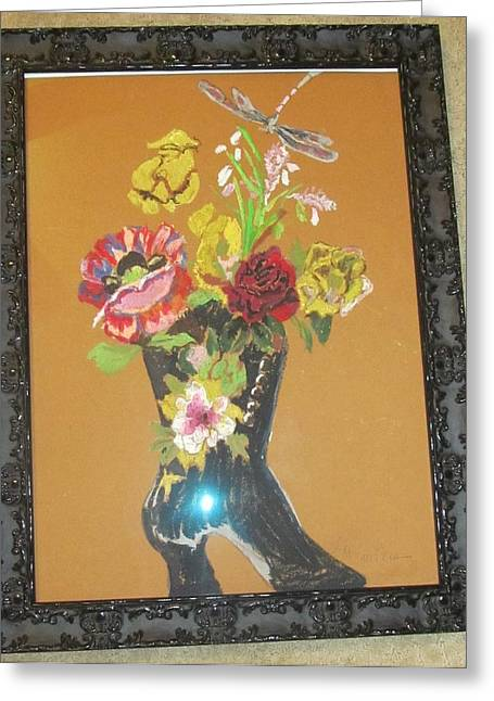 Boots Pastels Greeting Cards - Romantic Italian Boot of Flowers Greeting Card by Lana McCullars