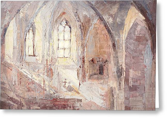 Moravia Paintings Greeting Cards - Romantic Light In A Stone Architecture Greeting Card by Terezia Sedlakova Wutzay