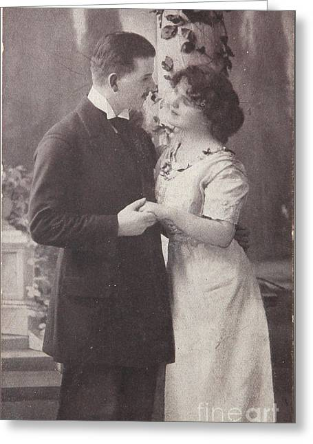 1916 Digital Greeting Cards - Romantic love in 1916 Greeting Card by Patricia Hofmeester