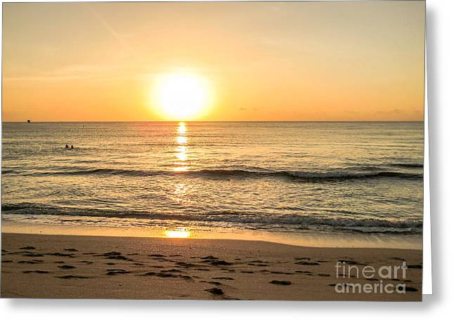 Beach At Night Greeting Cards - Romantic ocean swim at sunrise Greeting Card by Zina Stromberg