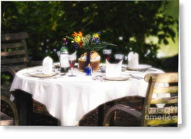 Table Cloth Greeting Cards - Romantic Outdoor Dinner Table  Greeting Card by George Oze